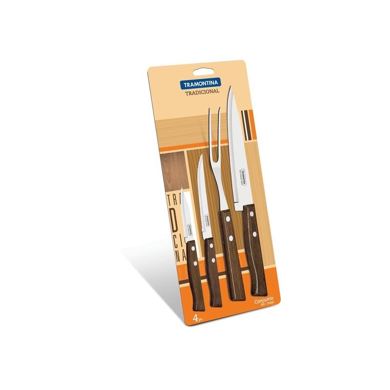 Набор из 3-х ножей и вилки Tramontina Tradicional (22299/019)