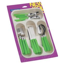Набор столовых приборов Tramontina New Kolor с зелеными ручками, 24 предмета (23198/275)