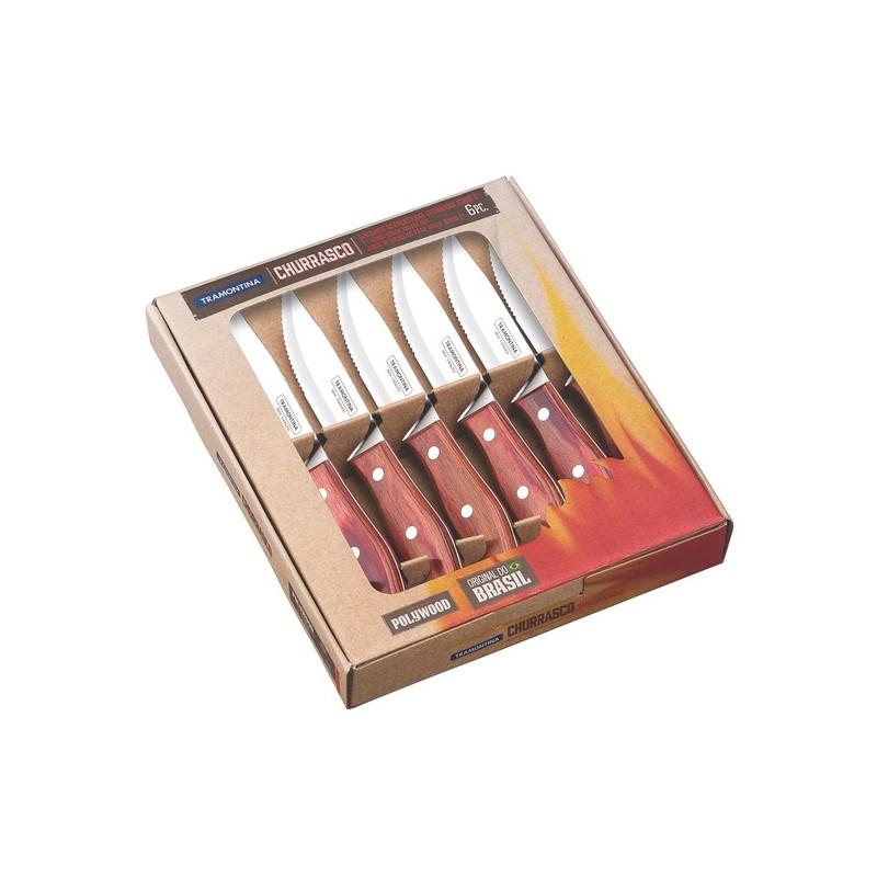 Набор ножей для стейка на 6 персон Tramontina Polywood Jumbo красное дерево 127 мм (21499/707)