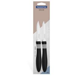 Набор ножей для овощей Tramontina COR&COR 76 мм с черной ручкой (23461/203)
