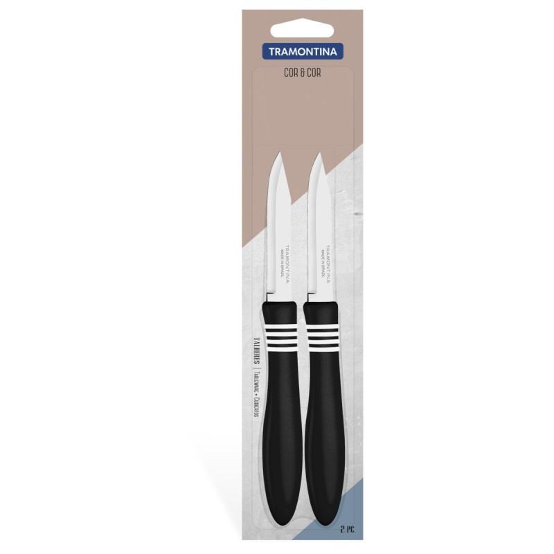 Набор ножей для овощей Tramontina 76 мм COR&COR с черной ручкой (23461/203)