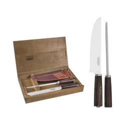 Нож для барбекю и мусат Tramontina Polywood с чехлом в подарочной коробке (29899/562)