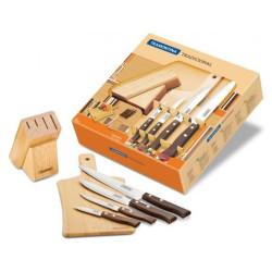 Набор ножей на подставке из дерева с доской Tramontina Tradicional (22299/038а)