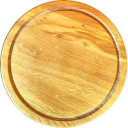 Разделочная доска стекающая круглая из дуба 25 см