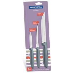Набор ножей Tramontina Plenus c серой рукоятью, 3 предмета (23498/613)